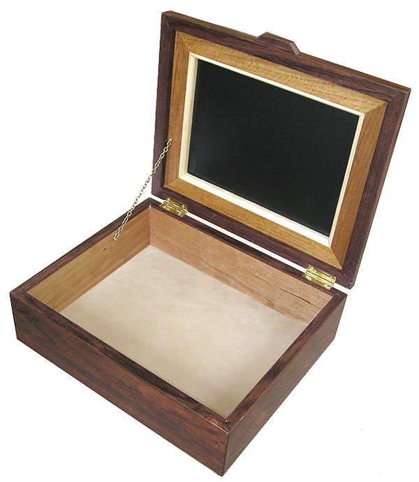 Handcrafted large wood box - open view - Decorative wood men's large valet box