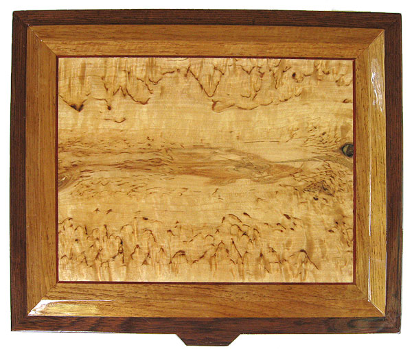 Masur birch inlaid box top - Handcrafted large wood men's valet box made of Honduras rose wood with masur birch framed in narra and Honduras rosewood