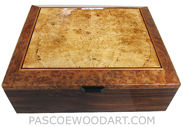 Handcrafted wood large box - Decorative wood large valet box, keepsake box for men made of Indian rosewood with maple burl framed in camphor burl box top