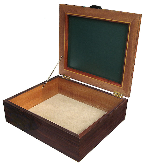 Handmade wood large box - open view - Decorative wood men's valet, keepsake box, document box
