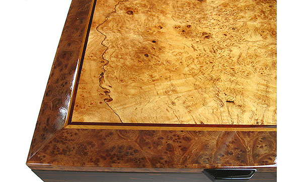 Maple burl framed in camphor burl box top close-up - Handcrafted decorative large wood box, men's valet, keepsake box