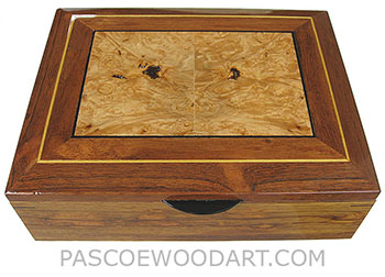 Handcrafted large wood box - Decorative large men's valet box, keepsake box, document box made of Honduras rosewood with maple burl inlaid top