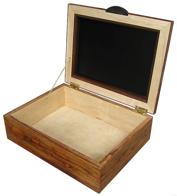 Handcrafted large wood box - Decorative large men's valet, keepsake box - open view