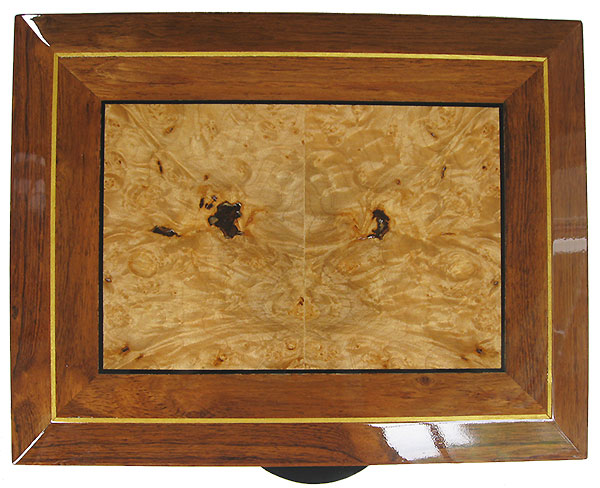 Maple burl indaid box top - Handcrafted large men's valet box, keepsake box