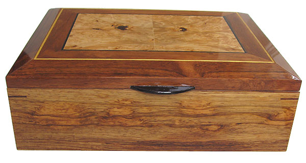 Honduras rosewood box front - Handcrafted large men's valet box, keepsake box