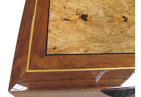Maple bur inlaid Honduras rosewood box top close-up - Handcrafted large men's valet box, keepsake box