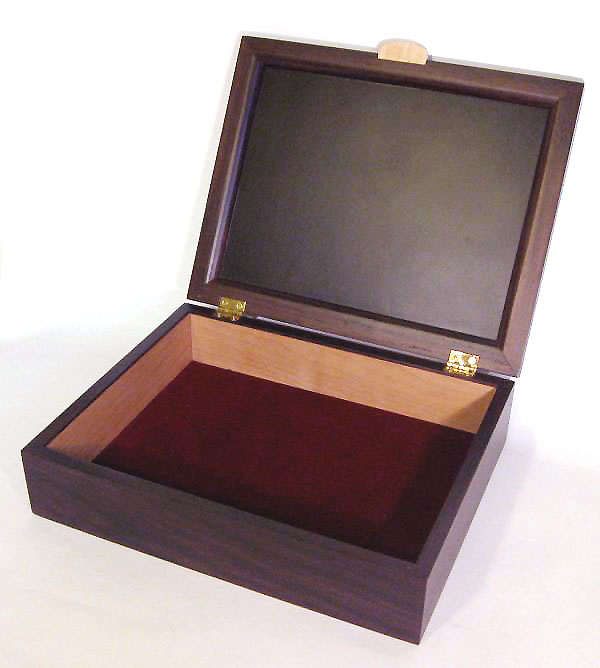 Men's valet box - Handcrafted wood box made from kamagong, east Indian rosewood, bird's eye maple - open view
