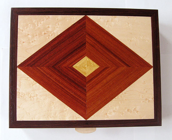 Wood keepsake box - Handcrafted wood box made from kamagong, east Indian rosewood, bird's eye maple - top view
