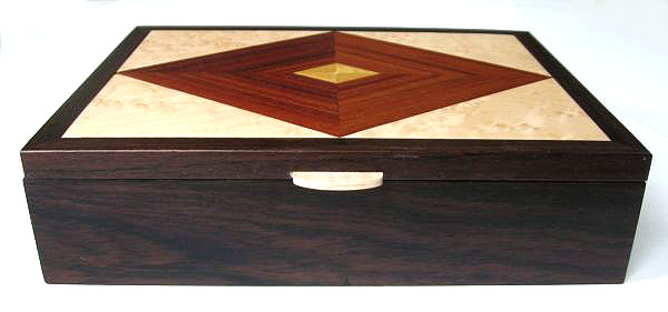 Men's valet box - Handcrafted wood box made from kamagong, east Indian rosewood, bird's eye maple - front view