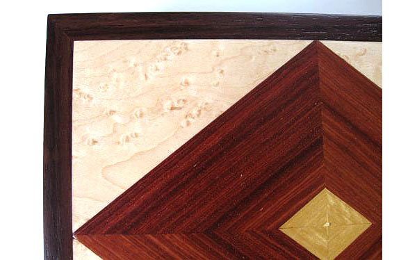 Wood keepsake box - Handcrafted wood box made from kamagong, east Indian rosewood, bird's eye maple - closeup