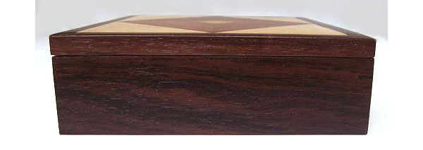 Wood keepsake box - Handcrafted wood box made from kamagong, east Indian rosewood, bird's eye maple - side view
