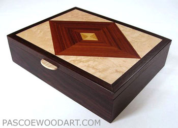 Handcrafted men's valet box made from kamagong wood, east Indian rosewood, bird's eye maple