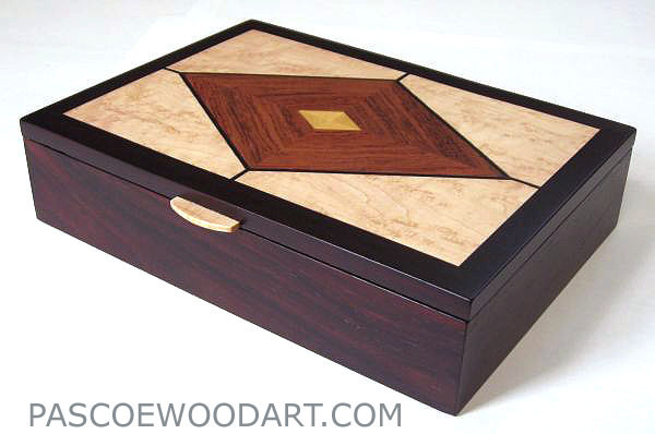 Handmade man's valet box - Wood box made from kamagong wood, East Indian rosewood, bird's eye maple