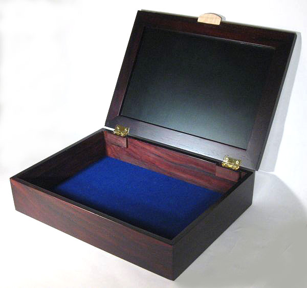 Handmade man's valet box - Wood box made from kamagong wood, East Indian rosewood, bird's eye maple - open view