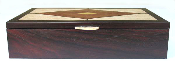 Handmade man's valet box - Wood box made from kamagong wood, East Indian rosewood, bird's eye maple - front view