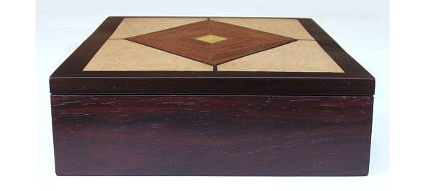 Handmade man's valet box - Wood box made from kamagong wood, East Indian rosewood, bird's eye maple - side view