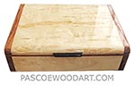 Handmade wood slim box - Decorative wood wallet box made of masur birch with bubinga ends