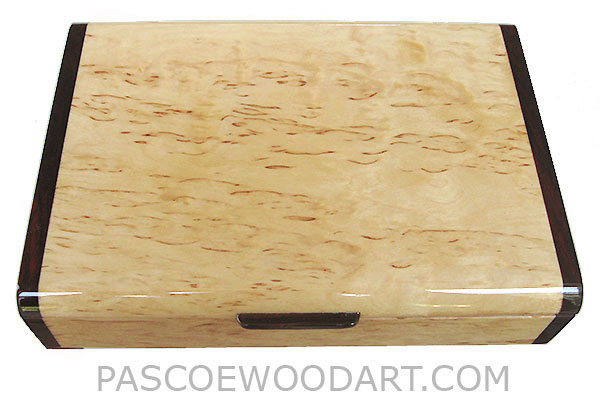 Handmade slim wood box - Decorative wallet box, pen box made of masur birch with cocobolo ends