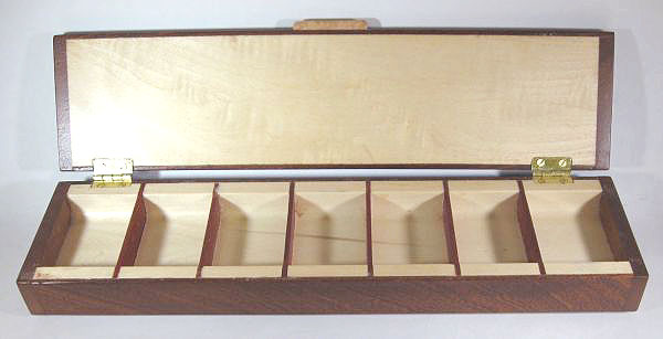 Weekly pill organizer handmade of sapele wood - open view