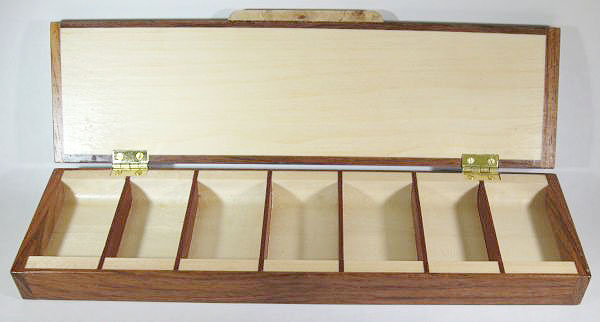 Weekly pill organizer handmade of Honduras rosewood - open view