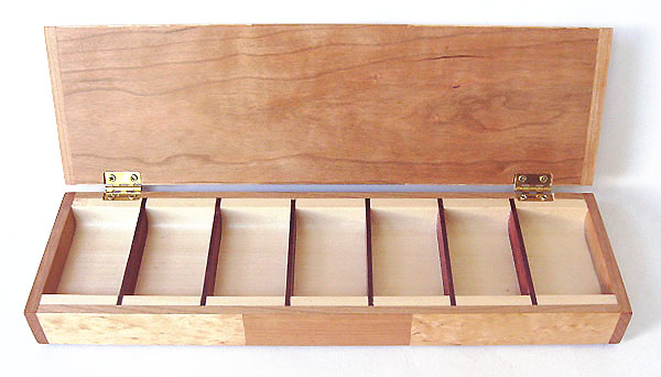 Decorative wood 7 day pill box open view - Handmade wood weekly pill organizer