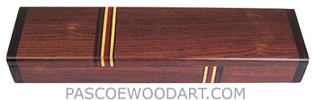 Decorative wood weekly pill box - Honduras rosewood handmade pill box with Boise de rose ends