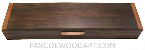 Handmade wood weekly pill organizer - Decorative 7 day pill box made of Kamagong over walnut with Honduras rosewood ends