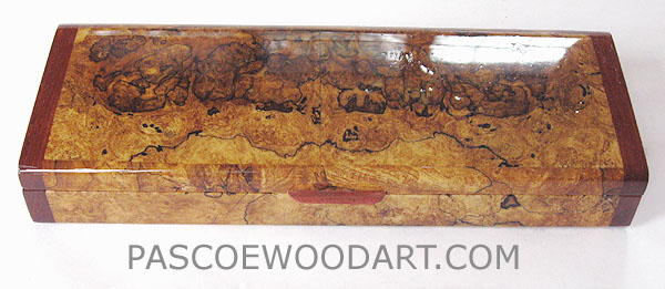 Handmade decorative wood weekly pill box made of spalted maple burl with bubinga ends