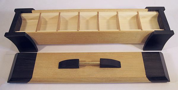 Handmade weekly pill organizer with 7 compartments - Handmade from ceylon satinwood and ebony- Open view