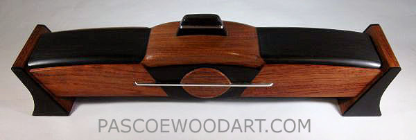 Decorative weekly pill box made from ebony and bubinga wood