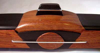Decorative wood pill box close up