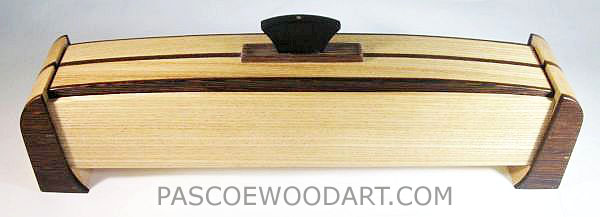 Decorative weekly pill box made from elm, wenge and ebony wood