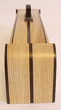 Decorative weekly pill box made from elm, wenge and ebony wood - Side view