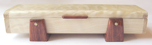Decorative wood weekly pill box - front view