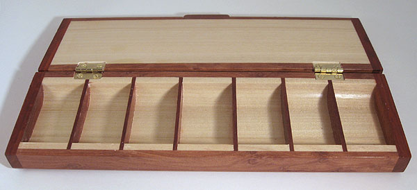 Handmade wood weekly pill organizer with 7 compartments - open view