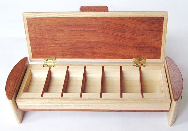 Decorative wood weekly pill organizer open view