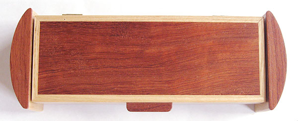 Bubinga pill box top view - Decorative handmade wood weekly pill organizer