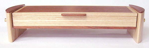 Handmade wood pill box front view