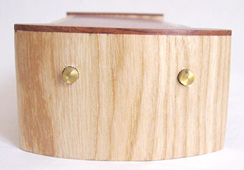 Elm pill box side view -  Decorative wood weekly pill organizer
