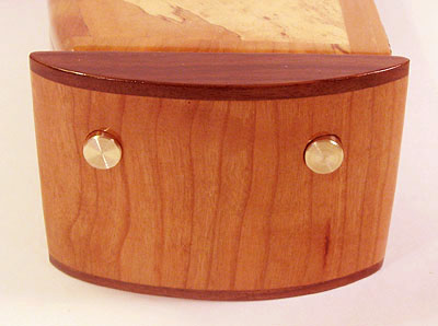 Cherry with walnut trim pillar - Decorarive weekly pill box made of maple burl, cherry