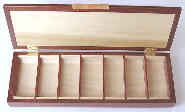 Decorative wood weekly pill organizer - 7 day pill box - open view
